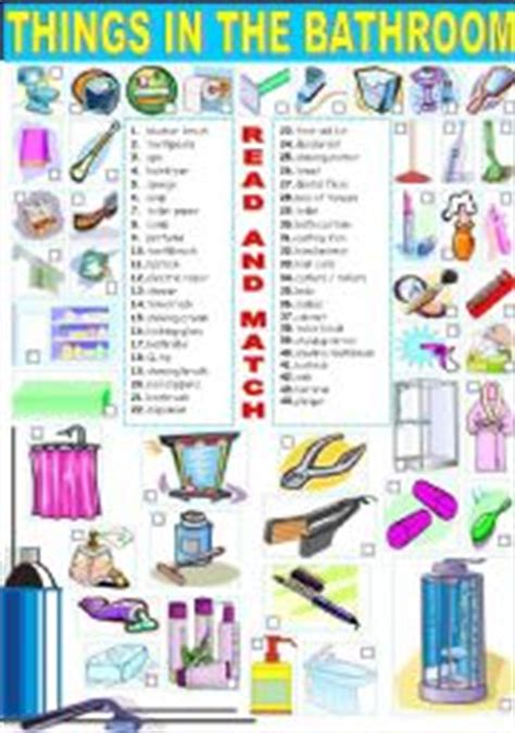 english word for bathroom english worksheet things in the bathroom