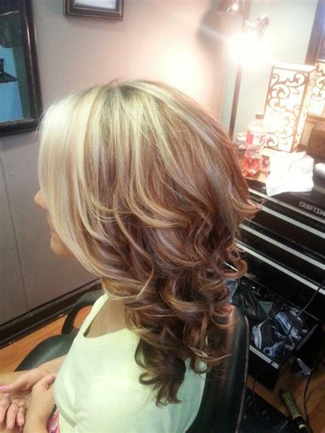 layered highlighted hair styles blonde highlights with red lowlights medium layered
