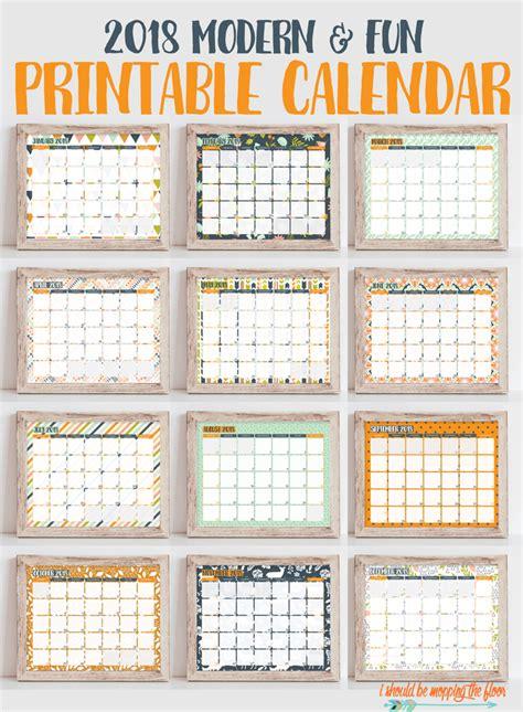 printable calendar 2018 fun i should be mopping the floor 2018 printable calendar