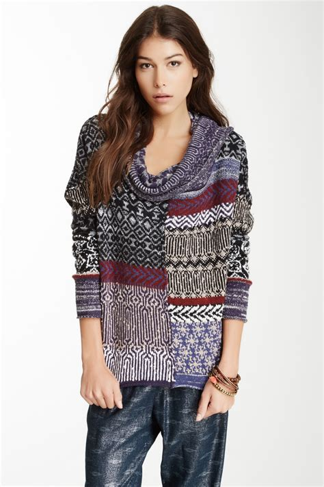 Patchwork Sweater - free patchwork favorite cowl neck pullover