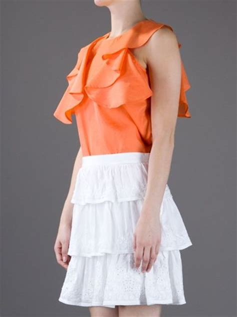 Blouse Ruffle Atasan Murah see by orange blouse mexican blouse