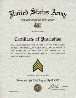 army promotions certificates