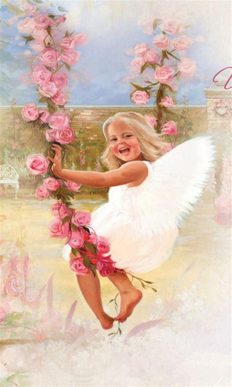 swinge heaven happy little angel on rose petal swing angel swing