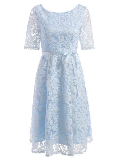 32161 White Lace Blue Solid S M L Dress Le100218 Import embroidered lace fit and flare prom dress light blue lace dresses s zaful