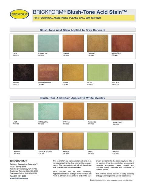 acid stain colors 17 best acid stain color charts images on acid