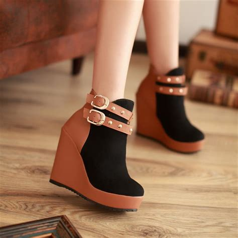 Sneaker Wedges Ankle Autunum Black autumn toe wedge high heel zipper ankle buckle black martens boots boots shoes