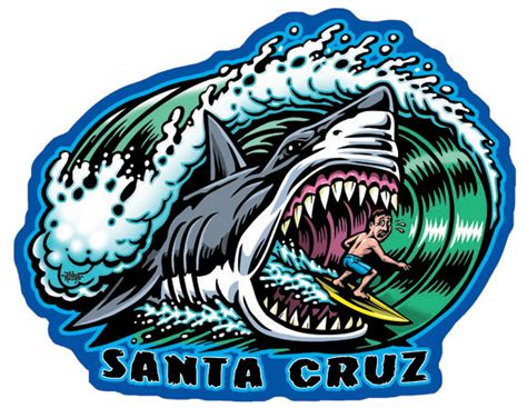 santa cruz shark full color shaped vinyl sticker 183 jimbo
