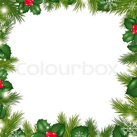 Poster Daun Suplir borders with snowflakes and berry stock photo