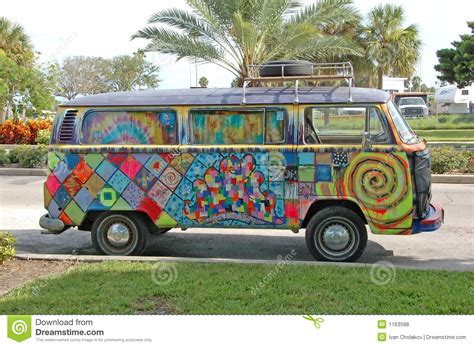 minivan volkswagen hippie volkwagen with hippie graffiti stock photography