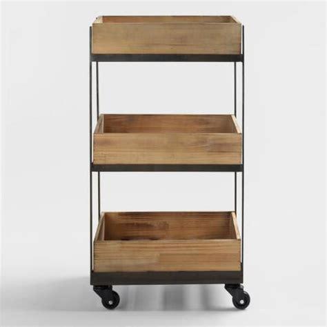 Three Shelf Rolling Cart by 3 Shelf Wooden Gavin Rolling Cart World Market