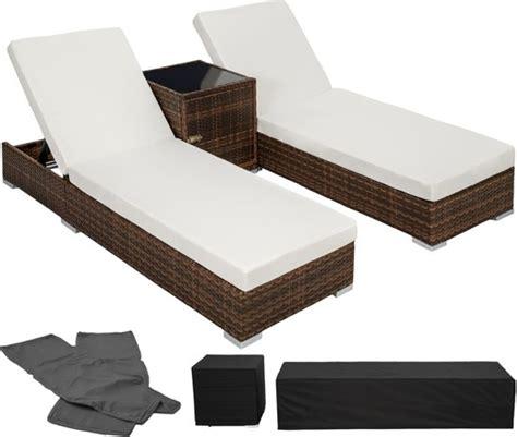 bijzettafel tuin zwart bol 2 luxe ligbedden met bijzettafel ligstoel zwart
