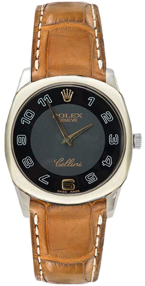 Rolex Cellini Black Gold by 4233 9 Black Gold Rolex Cellini Danaos Brown Alligator