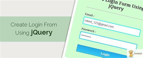 design form using jquery create login form using jquery formget