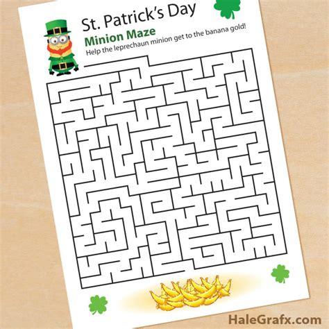 printable minion maze free printable st patrick s day leprechaun minion maze
