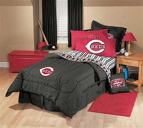 cincinnati reds team denim twin comforter sheet set