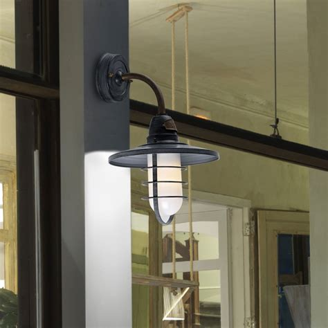 leds c4 cottage ip65 wall light in grey and frosted glass