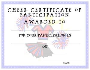 cheerleading certificate templates free certificate template for free printable certificate