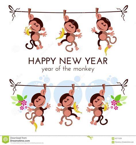 new year monkey fail new year greeting card with monkeys on branch with