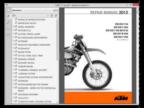 Ktm 350 Exc F Service Manual Ktm 350 Exc F Xcf W 2012 Manual De Taller Service