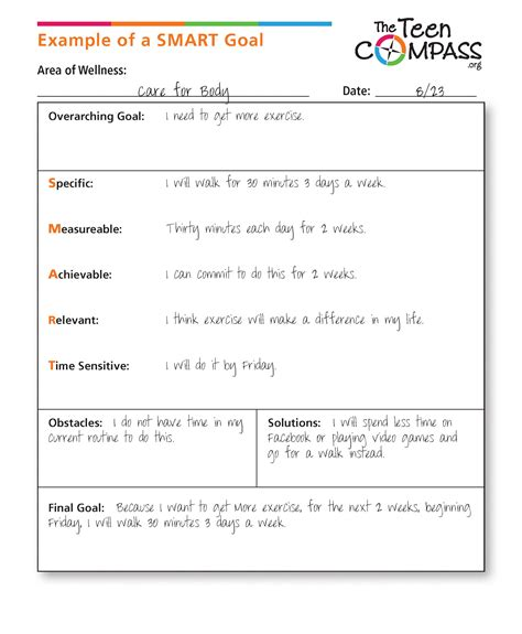 Smart Goals Defined The Teen Compass Smart Goals Template