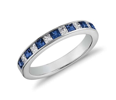 channel set princess cut sapphire and ring in 14k