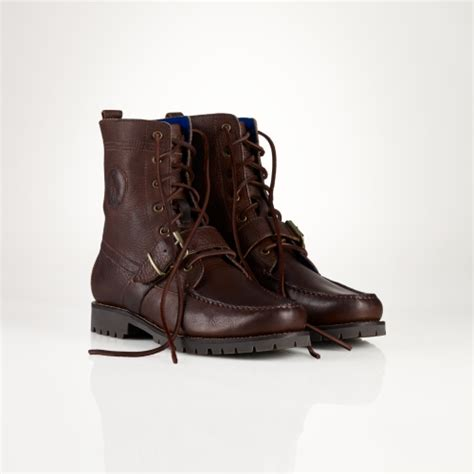 polo ralph ranger leather boot in brown for