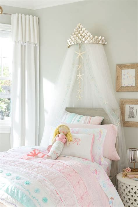 capiz cornice glitter tulle sheers   girls bedroom ideas mermaid bedroom girls