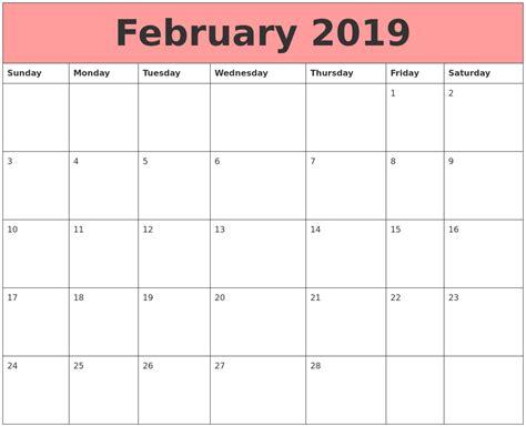 Calendar That Work February 2019 Calendars That Work