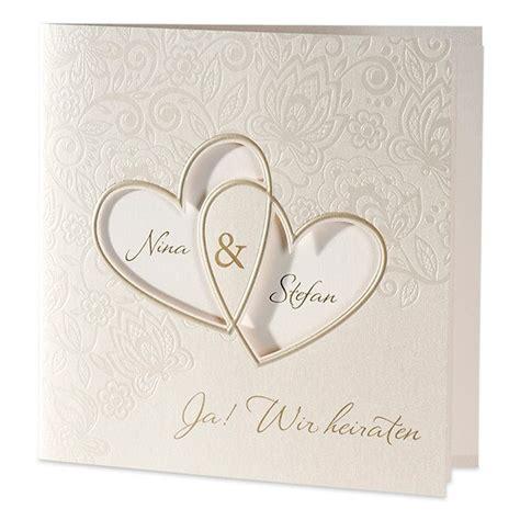 Hochzeitskarten Einladungskarten by Hochzeitseinladung Quot Sonja Quot Mit Ausgestanzten Herzen