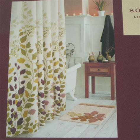 kohls fabric shower curtains kohl s sonoma mariposa leaf green brown fabric shower curtain