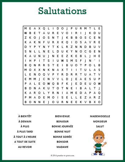 salutations word search