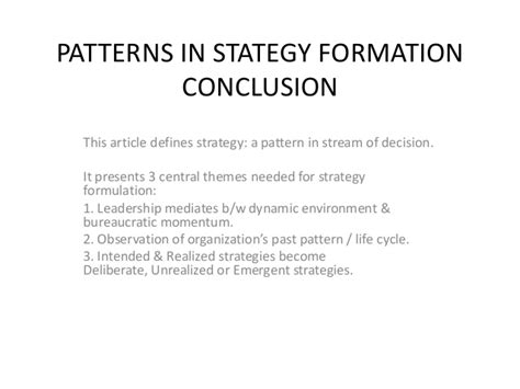 pattern formation strategies patterns in stategy formation conclusion