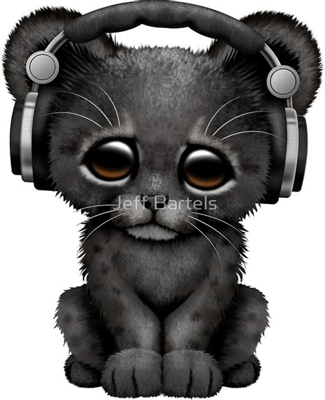 Metal Duduk Panther 2500cc Size 075 quot black panther cub dj wearing headphones on blue