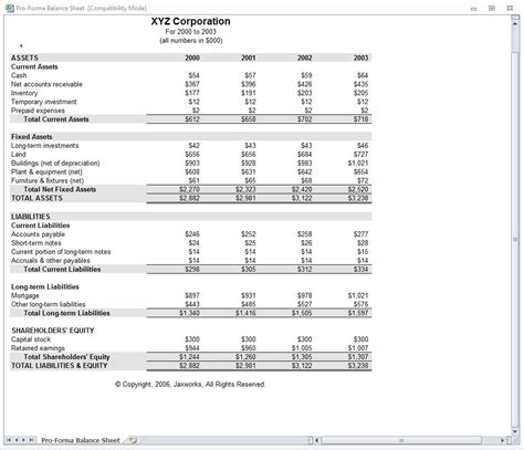 Pro Forma Template For Startup by Proforma Balance Sheet Pro Forma Balance Sheet