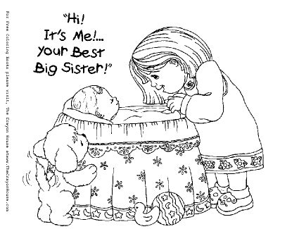 coloring pages baby sister big sister coloring pages pictures crafty printable
