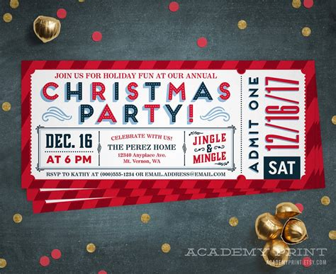 christmas party ticket template ticket invitation printable by academyprint