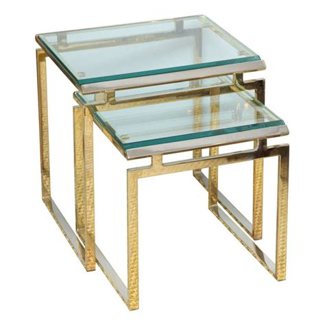 brass and glass nesting tables brass and glass nesting tables at 1stdibs
