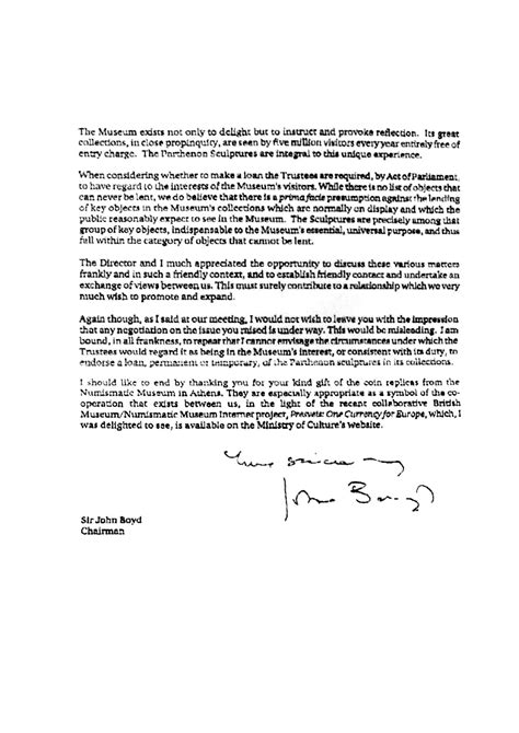 Loan Opinion Letter Greece S Parthenon Marbles Loan Request That Was Rejected