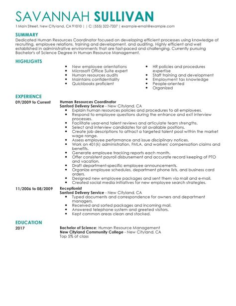 hr coordinator resume exle images frompo