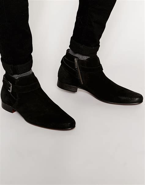 asos chelsea boots in black suede with buckle in
