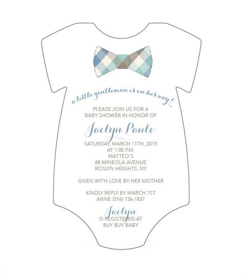 Free Baby Shower Invitations Templates Pdf by Onesie Baby Shower Invitations Template Resume Builder