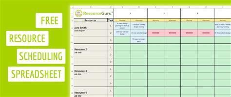 resource scheduling template  excel resource guru