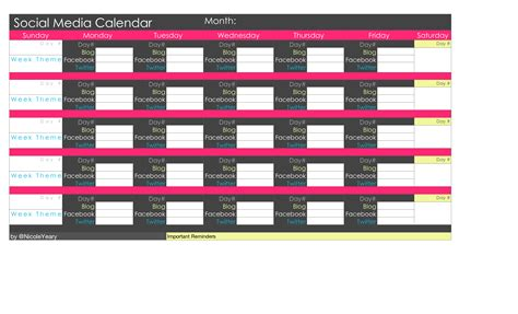 social media calendar template excel social media calendar template great printable calendars