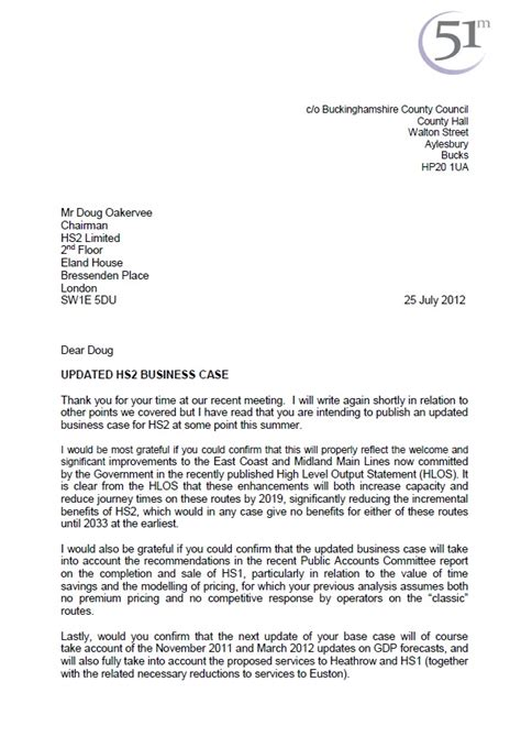 Stop Hs2 51m Letter Asking Hs2 About Updating The Business Case Update Letter Template