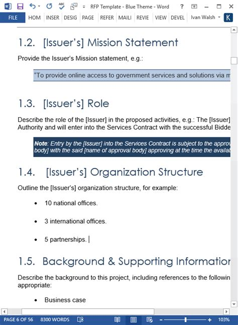 template request for proposal template microsoft word templates