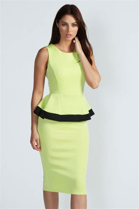 Contrast Trim Peplum Dress boohoo contrast trim peplum detail midi dress ebay