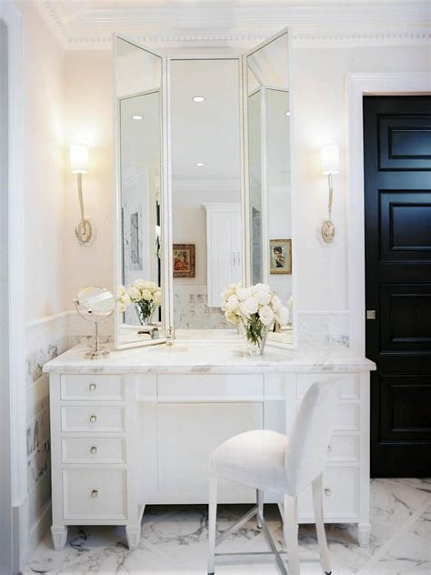 bathroom with makeup vanity transitional bathroom photos hgtv