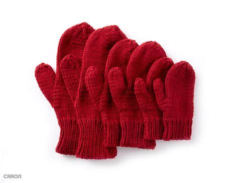 knit mittens caron basic family knit mittens knit pattern yarnspirations