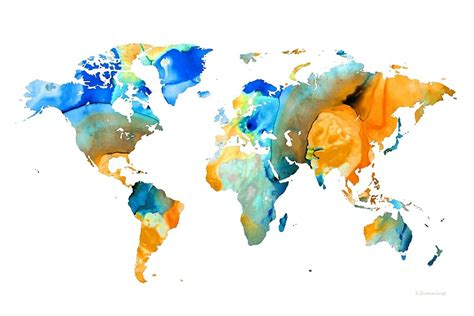 the art of worldly quot world map art map of the world 14 by sharon cummings quot art prints by sharon cummings redbubble