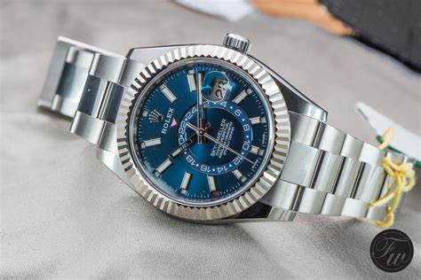 stainless steel rolex sky dweller reference  impressed